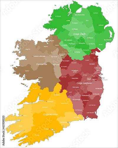 Karte von Irland Tablou Canvas
