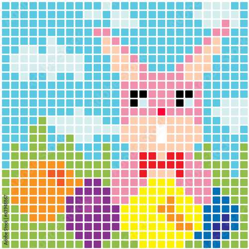 Wall Murals Pixel Easter bunny and eggs vector background