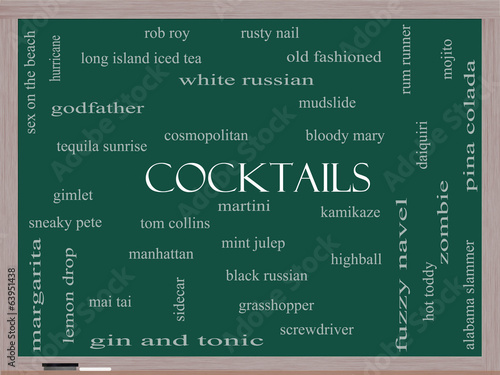 Photo  Cocktails Word Cloud Concept on a Blackboard