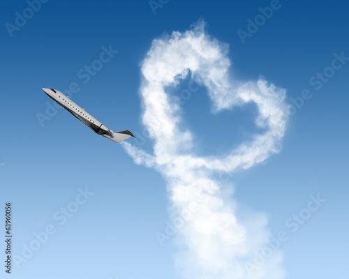 fototapeta na lodówkę kształt serca utwór z samolotu na niebie