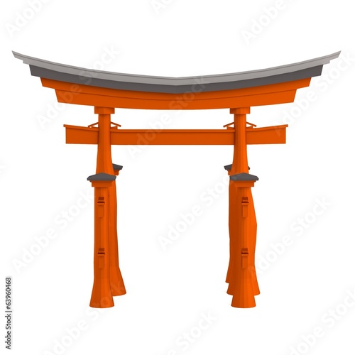 realistic 3d render of torii gate