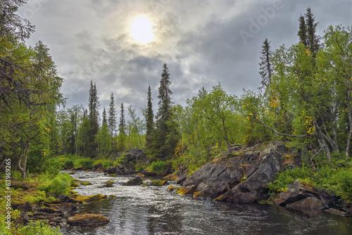 Aluminium Prints Dark grey Mystical landscape on the river Polisarke. Kola Peninsula.