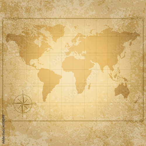 Foto op Canvas Wereldkaart vintage vector world map with compass
