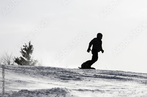 Recess Fitting Water Motor sports Silhouette of a skier on the hill. Sport and active life