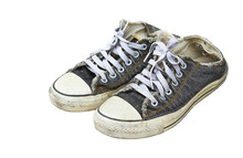 Old Black Sneakers Isolated