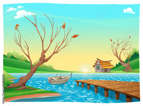 Fotobehang Turkoois Lake with boat.