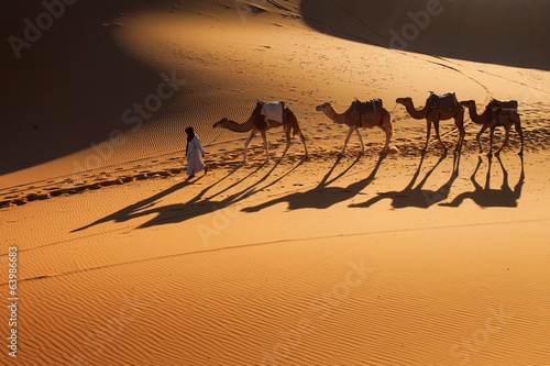 Poster Zandwoestijn Desert Sahara, Camel Ride Caravan, Enjoying and happy People