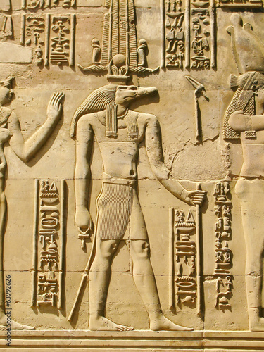 Foto op Canvas Egypte Temple of Kom Ombo, Egypt: Sobek - the crocodile-headed god of t
