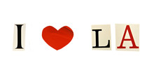 I Love LA (Los Angeles) Formed With Magazine Letters