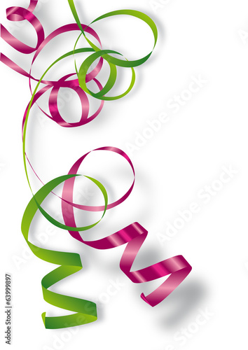 Fototapeta Rubans cadeaux vert et rose (bolduc)