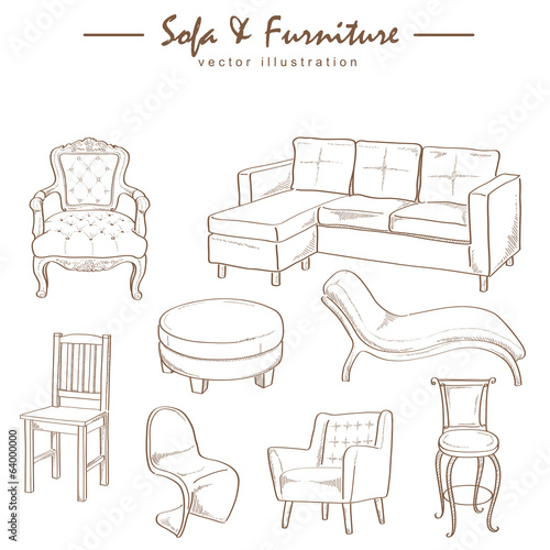 Fotografía  furniture collection sketch drawing vector