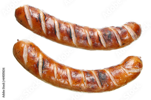 Fried sausages on white background Fototapeta