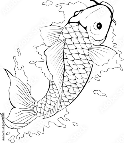Black And White Koi Fish Tattoo Buy This Stock Vector And Explore