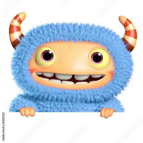 Photo sur Aluminium Doux monstres 3d cartoon blue monster