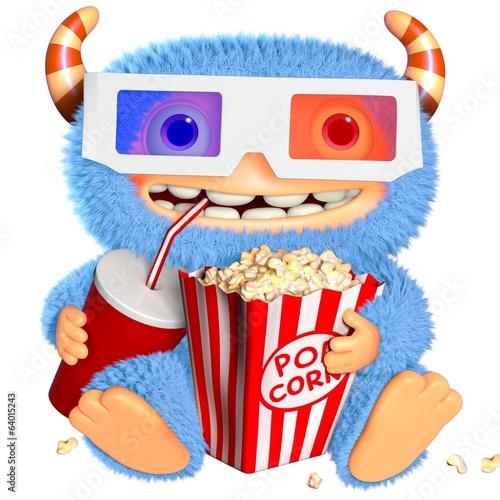 Poster de jardin Doux monstres 3d cartoon blue monster