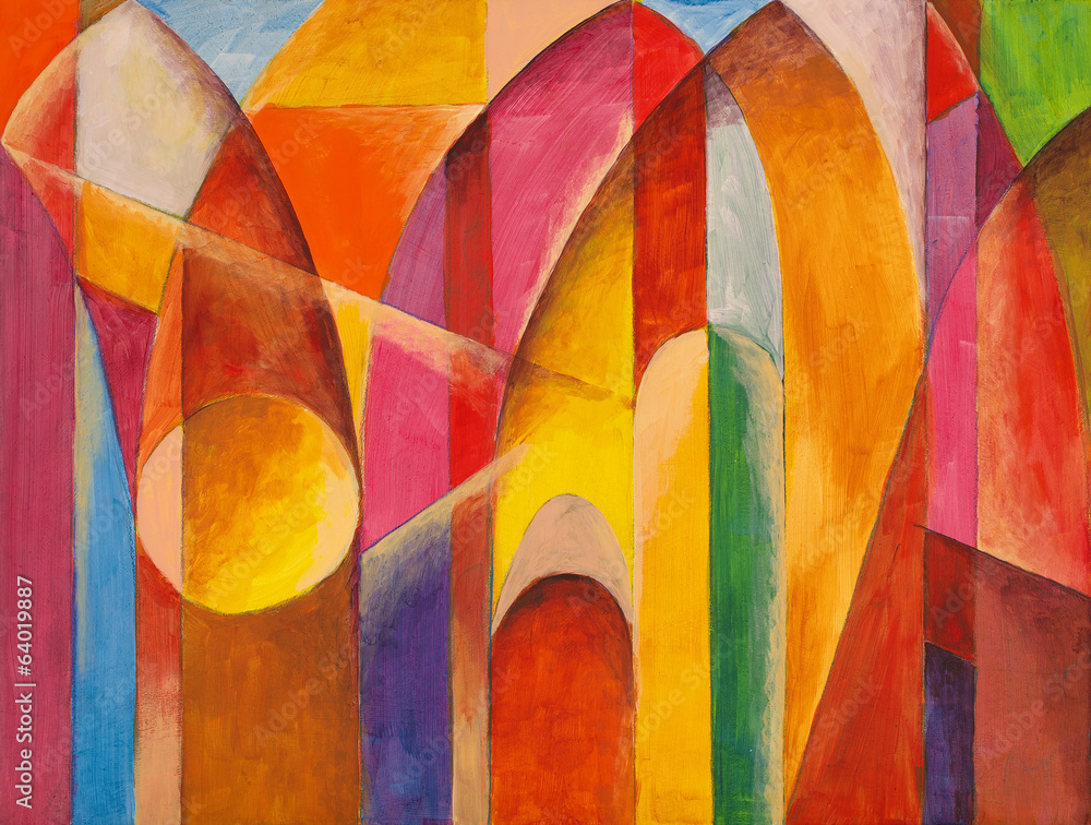 Fototapeta an abstract painting, suggestive of architecture