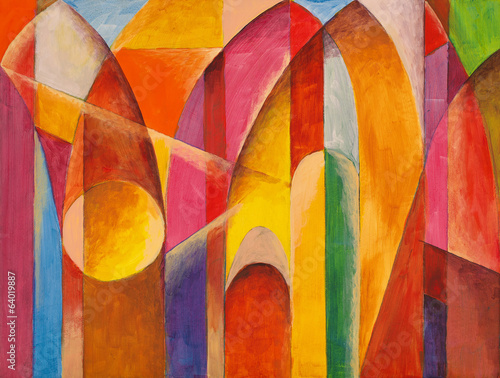 Fototapeta an abstract painting, suggestive of architecture obraz