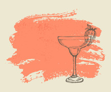 Tropical Cocktail With Strawberry On Pink Grunge Background