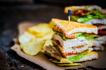 Club Sandwich On Rustic Wooden...