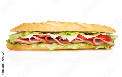 Spoed Foto op Canvas Snack Fresh sandwich with meat and vegetables