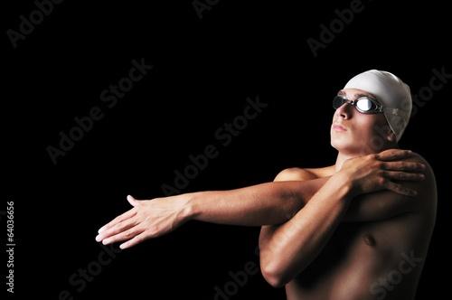Fotografía  Male swimmer isolated on black