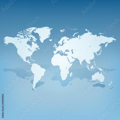 Ingelijste posters Wereldkaart World map with shadow 3d concept vector