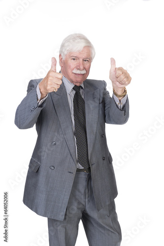 Old man in suit and gray hair with both hands showing thumbs up old man in suit and gray hair with both hands showing thumbs up publicscrutiny Images