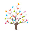 Many multicolored cute birds on tree