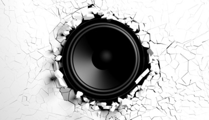 Fototapeta samoprzylepna White wall breaks from sound with loudspeaker illustration