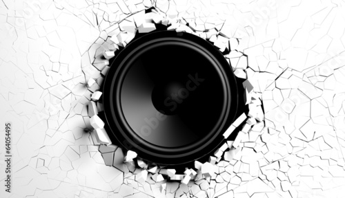 Photo  White wall breaks from sound with loudspeaker illustration