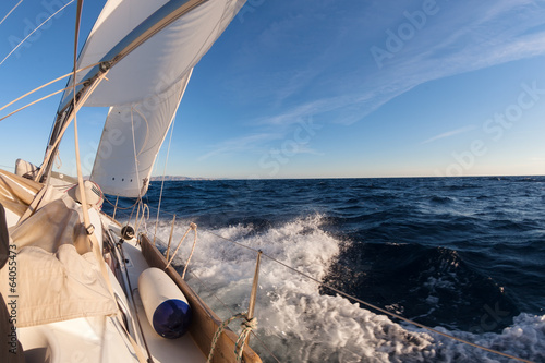 Tuinposter Zeilen Sailing boat in the sea