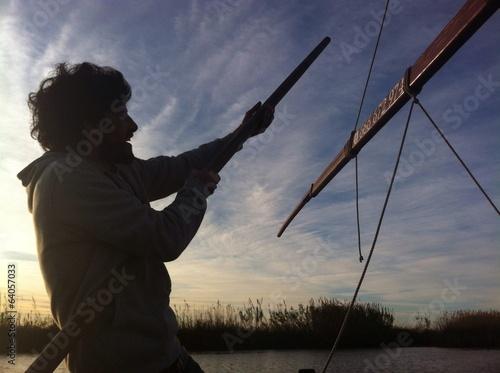 Barquero perchando en El Palmar Slika na platnu