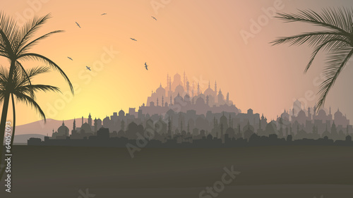 Fotografija Horizontal illustration of big arab city at sunset.