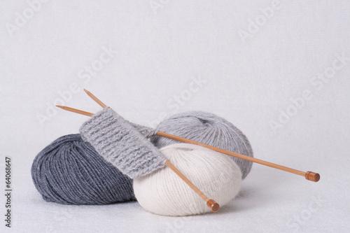 Fotografie, Obraz  Knitting Accessories. Yarn Balls