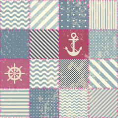 Fototapeta Marynistyczny Retro patchwork in nautical style.