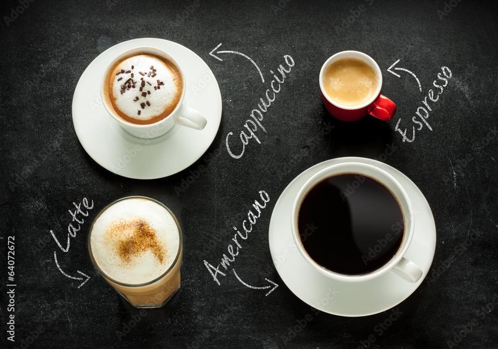 Cappuccino, espresso, americano and latte coffee
