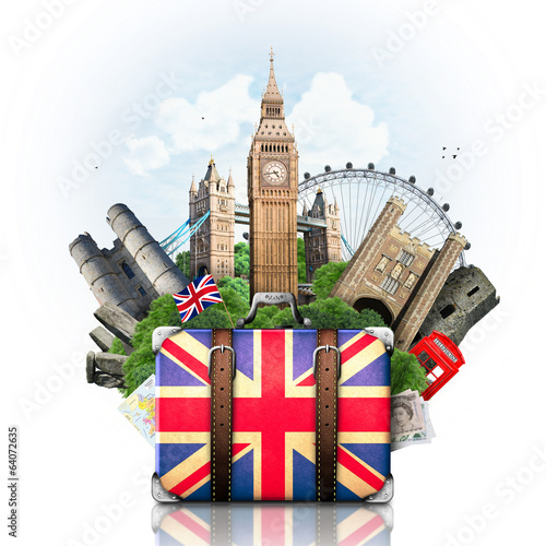 Fototapeta England, British landmarks, travel and retro suitcase obraz