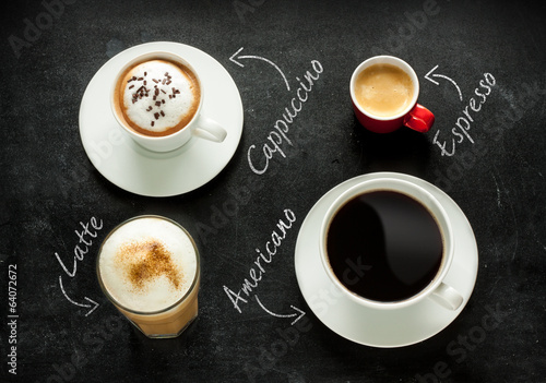 Photo  Cappuccino, espresso, americano and latte coffee