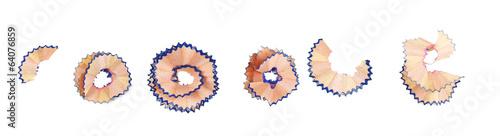 Fotografie, Obraz  Color pencil shavings, isolated on white