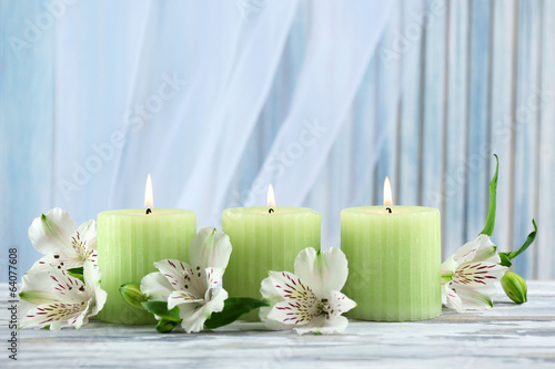 Fototapety, obrazy: Beautiful candles with flowers