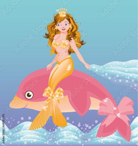 mloda-zlota-syrenki-dziewczyna-i-rozowy-delfin-wektor