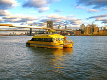 Water Taxi And Brooklyn Bridge...