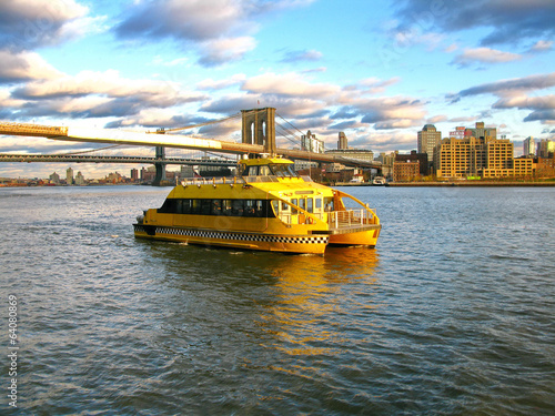 Printed kitchen splashbacks New York TAXI Water Taxi and Brooklyn bridge, seen from Pier 17, at Lower Manh