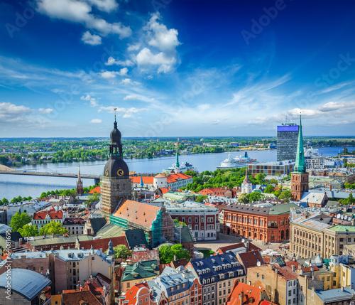 Fotografie, Obraz Aerial view of Riga center from St. Peter's Church, Riga, Latvia