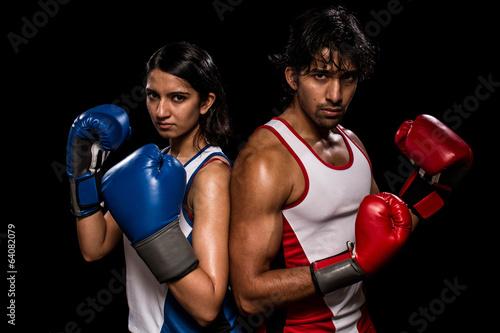 Fotografie, Tablou  Male and Female Boxers