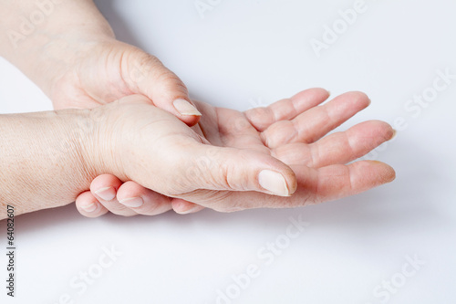 Valokuva  Woman hands over a white background