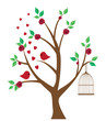 vector tree with birds, cage, roses