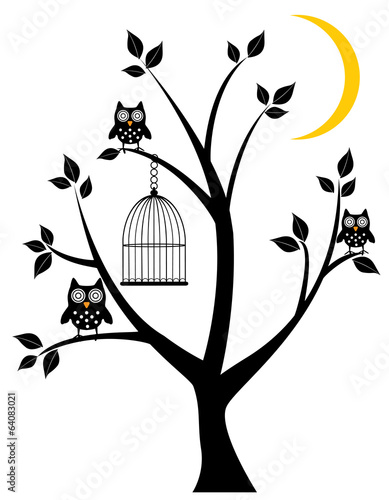 Fotografie, Obraz  vector tree with owls, moon, cage