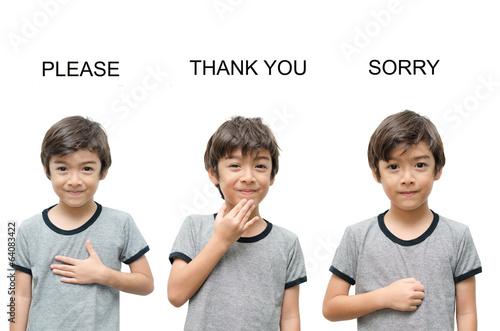Fotografie, Obraz  Please thank you sorry kid hand sign language on white backgroun
