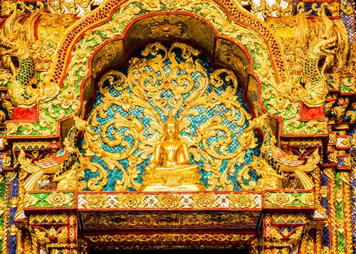 Recess Fitting Morocco Buddha statue Wat Pha Baht Si Roi, chiangmai Thailand